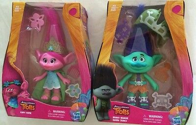 Lot of 2 DreamWorks Trolls Branch & Poppy 9-Inch Figures NIB