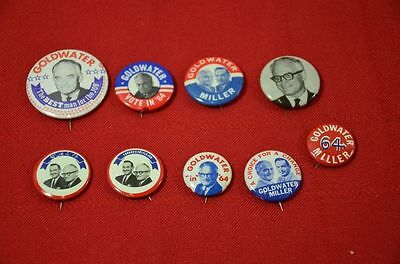 Barry Goldwater Miller 1964 Pin Lot Presidential Campaign Election Button #1344