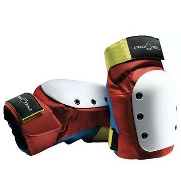 Protec STREET Skateboard RETRO Elbow Pads RED/BLUE/YELLOW Large