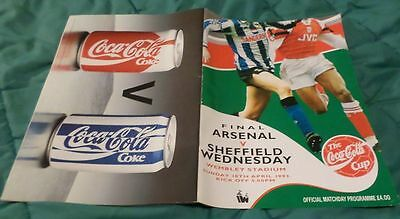 Sheffield Wednesday V Arsenal Coca-Cola Cup Final Prog 1993, Good, USED
