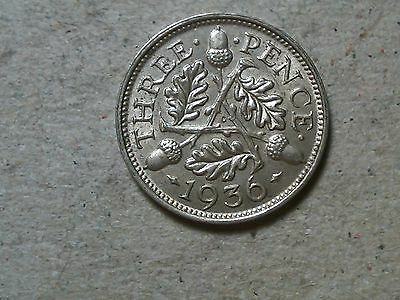 Great Britain 3 pence threepence 1936 George VI silver