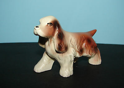 """Vintage Cocker Spaniel or Brittany Dog Glossy Coat Small 2.75"""" Tall Brown White"""