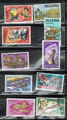 (13-139) 10 Cancelled Postage sTtamps  from Nigeria