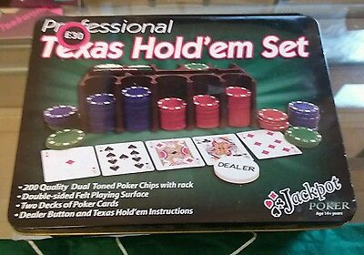 Texas hold em poker set (in a metal box)