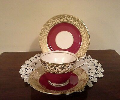 Attractive Aynsley Red and Gold Trio