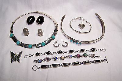 Lot Sterling Silver 200 grams Necklace, Bracelets, some Native American