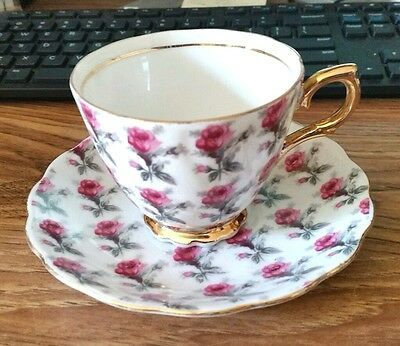Beautiful. vintage Napco pink rose hand painted chintz tea cup saucer