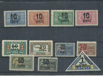 Lithuania New Currency Air Mail Overprint 1922 Scott C21-31, Mi 176-186 GENUINE