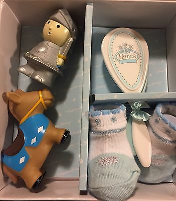 Stephan Baby Boy 5 PC Prince  Gift Set Booties,Brush,Comb, Horse , Knight  toy N