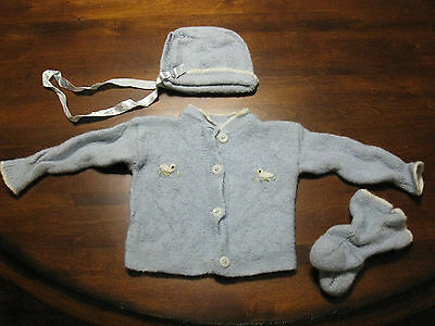 Vintage Blue Knit Baby Sweater, Bonnet, and Booties
