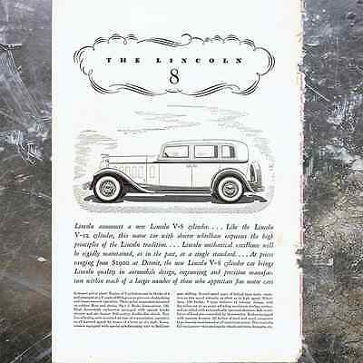 Vintage '32 Lincoln Eight V8 Original Print Ad, 30's Car Paper Automobilia Art