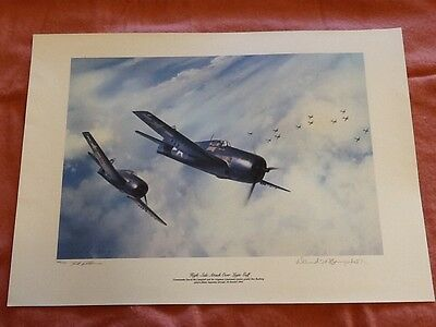 High-Side Attack Over Leyte Gulf print, David McCampbell signed, F6F Hellcat ace