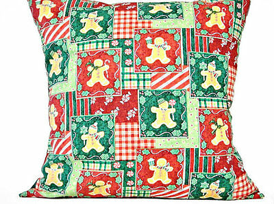 Gingerbread Man Pillow Cover Christmas Red Green Decorative 18x18