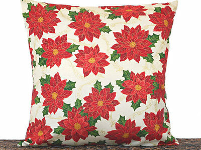 Poinsettia Pillow Cover Christmas Beige Red Green Gold Decorative 18x18