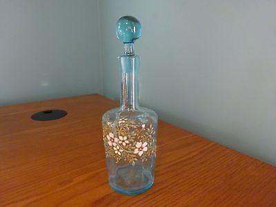 Antique Perfume Scent Bottle Blue with Enamel Flowers Numbered Stopper Matches