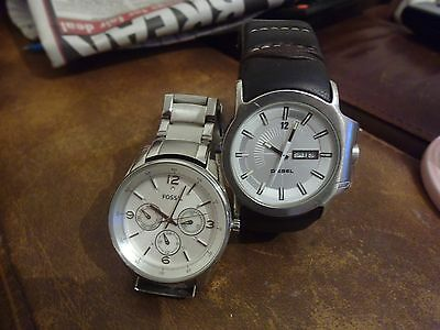 1 Fossil Chronograph Watch -And 1Diesel Watch.
