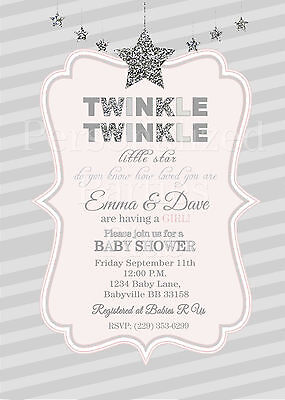 Twinkle twinkle little star baby shower invitations in silver and twinkle twinkle little star baby shower invitations in silver and pink filmwisefo