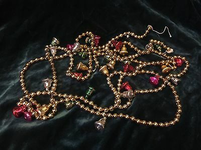 "(2) Vtg Mercury Glass Bead Garlands Gold Multi Colored Bells 47"" Christmas"