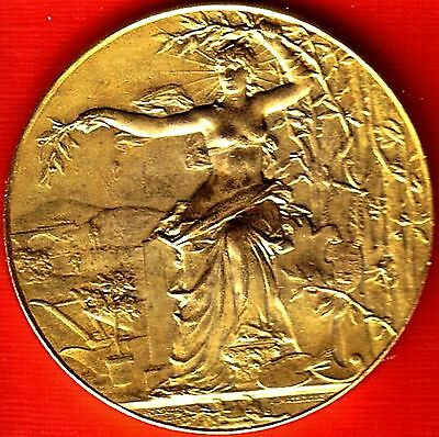 Gilded Bronze Art Nouveau French Medal By A Massoulle  Encouragement Of Progress