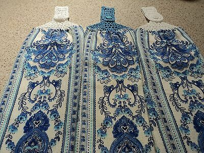 3 Blue & White Hand Towels, Double sided, Crochet  Tops (45)