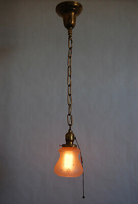 Brass Pendant Light Wheel Cut Etched Glass Shade P&S Pull Chain Socket 1920's