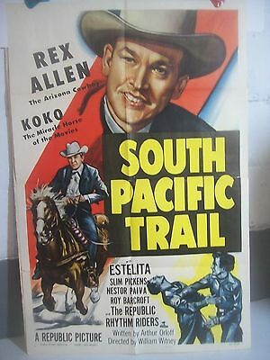 "1952 'SOUTH PACIFIC TRAIL' 27""x41""one sheet MOVIE POSTER Rex Allen KOKO western"