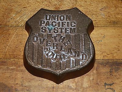 Union Pacific The Overland Route Cast Bronze Shield Emblem Paper Weight