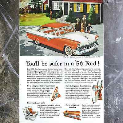 Original '56 Ford Victoria Safety Print Ad, Vintage 1950's Classic Car Paper Art