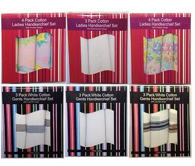3 or 4 Pack of Mens and Ladies Handkerchief Sets