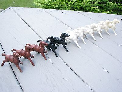 """11 lot  Vintage Plastic Galloping HORSES LIDO 2"""" tall,  black white brown"""