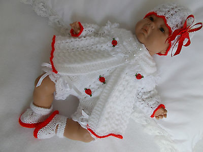 """Dainty Doll Designs - Hand Knitted Set To Fit A 16"""" Baby Doll/reborn"""
