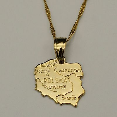 """Gold Poland Polska Map Pendant Necklace Warsaw Detail 20"""" Chain Gift Country"""