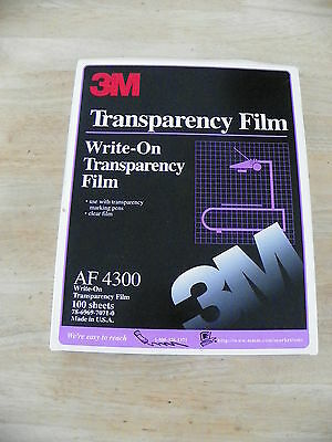 """3M AF4300 Write-On Transparency Film 8.5"""" x 11"""" 100 Ct 2 Boxes 180 Sheets NIP"""