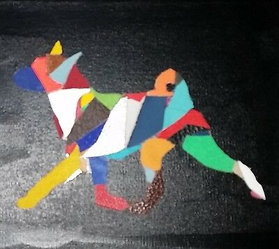 FUNKY BASENJI MOVING LEATHER ON CANVAS PICTURE 20cm x 20cm