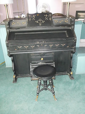 Antique 1880's United States Piano & Organ Co. Pump Organ with Claw Foot Stool