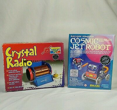 2 Science Kits For Kids -- Crystal Radio Kit & Balloon Powered Cosmic Jet Robot