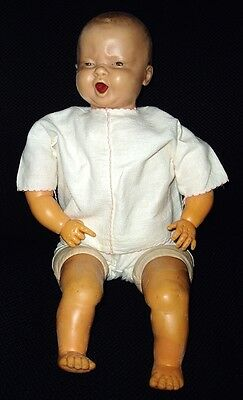 "RARE! 20"" Antique Rubber CRYING, SQUALLING BABY DOLL all orig"