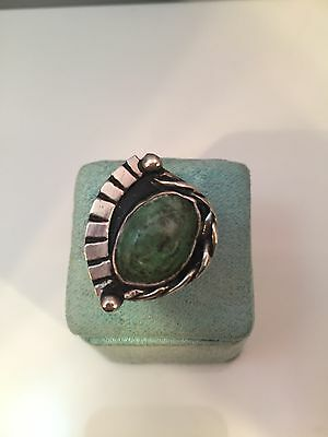 Vintage Native American Silver Green Manasas Turquoise Ring Size 9