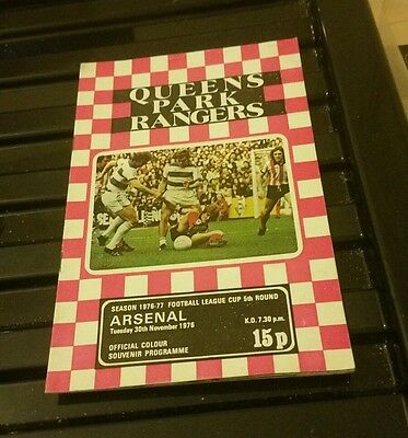 Signed David Webb Qpr V Arsenal Matchday Programme 76/77 With Match Ticket
