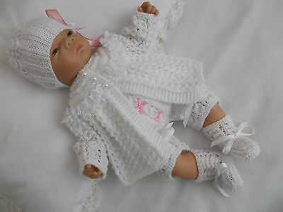 """Dainty Doll Designs - Hand Knitted Set To Fit An 18"""" Baby Doll/reborn"""