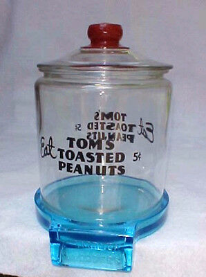 Vintage Gardners Blue Glass Candy / Peanut Jar Stand ONLY,  Tom's Lance Store
