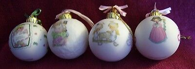 Precious Moments HOLIDAY ORNAMENTS - Porcelain - Set of 4