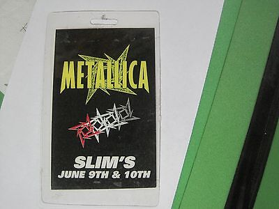 "Metallica Metclub ONLY show ""Slims 6-9-1996"" SUPER  RARE ""Laminate Pass"""