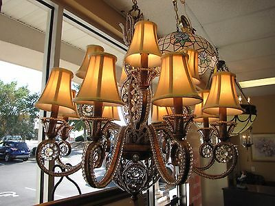 Large Contemporary Gold Gilded Chandelier at The Raleigh Furniture Gallery