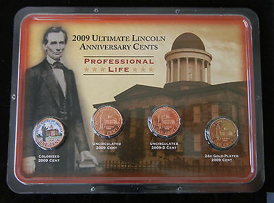 """2009 Ultimate Lincoln Cents ~ 4 Coin Set ~ UNCIRCULATED ~ """"Professional Life"""" 3"""