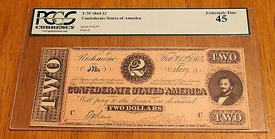 1864 Confederate $2 RICHMOND NOTE BEAUTIFUL CHOICE PCGS EF XF45 RARE!!!