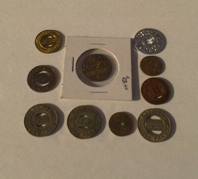 Vintage Railroad Tokens Bus Tokens Good For One Fare Lot Of 10 Pepsi Cola You Pa