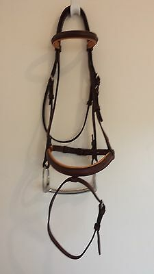 Brown Leather Snaffle Bridle with S/S Bit & Reins