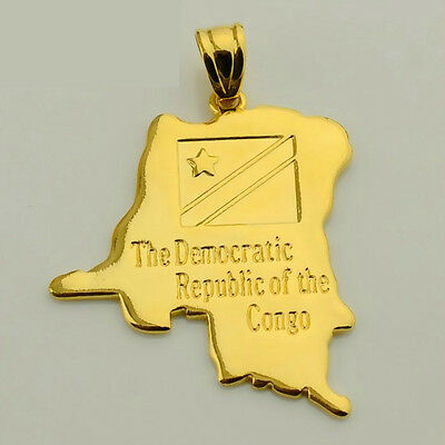 """Gold Democratic Republic of Congo Pendant Necklace Flag Detail 20"""" Chain Africa"""