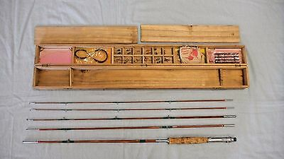 Vintage Bamboo Fly / Spin Fishing Rod, by Orient,Japan, Late 1940's,Original Box